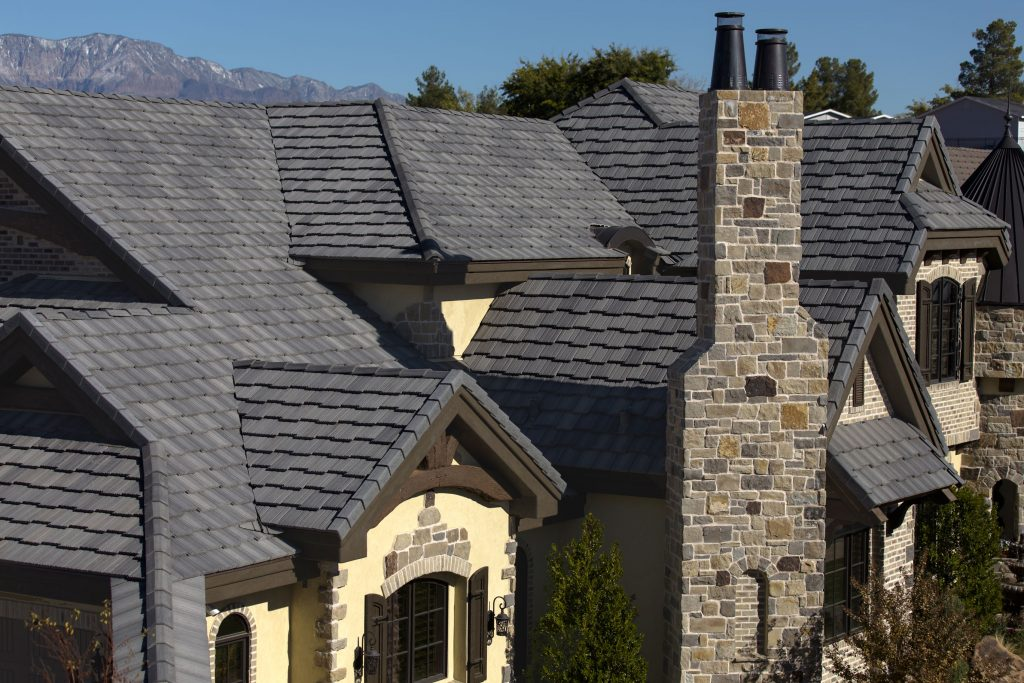 Eagle Design Corner Dark Gray Concrete Tile Roofs Are
